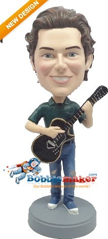Black Electric Guitar Man bobblehead Doll