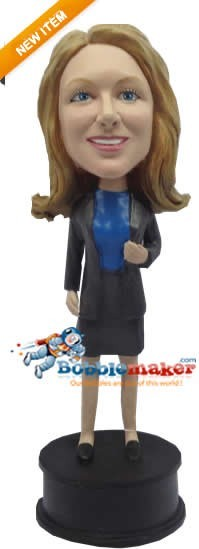 Executive Female With Jacket bobblehead Doll