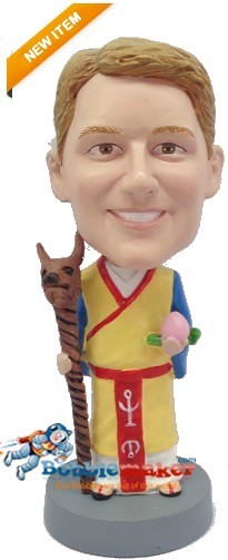 Chinese Suit With Dog Staff bobblehead Doll