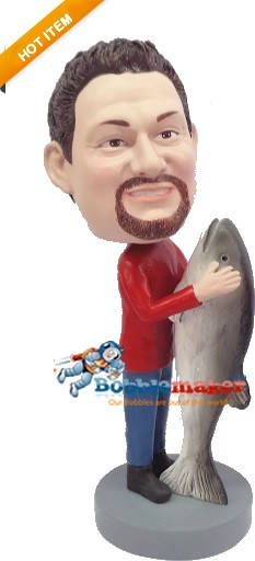Custom Bobble Head | Fisherman With Big Fish Bobblehead | Gift Ideas For Men