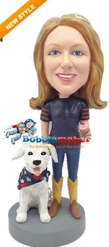 Woman With Dog bobblehead Doll