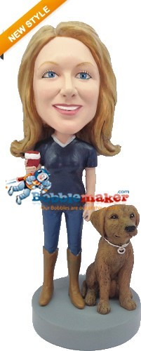 Custom Bobble Head | Female With Pet Dog Bobblehead | Gift Ideas For Women