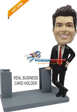 Business Man With Card Holder bobblehead Doll