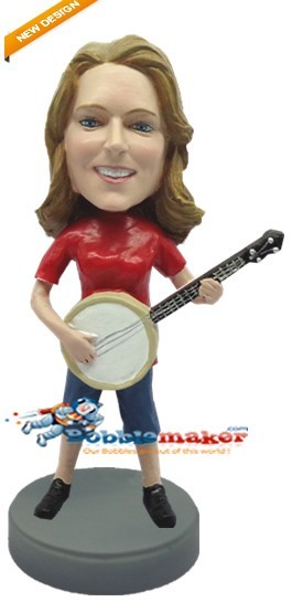 Woman With Banjo Custom bobblehead Doll