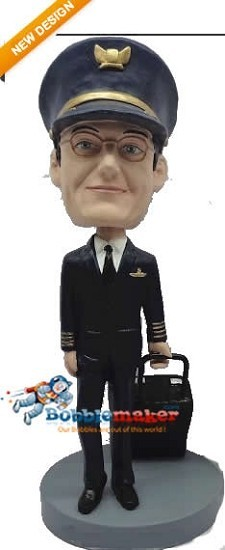 Custom Bobblehead | Male Pilot With Bag Bobblehead
