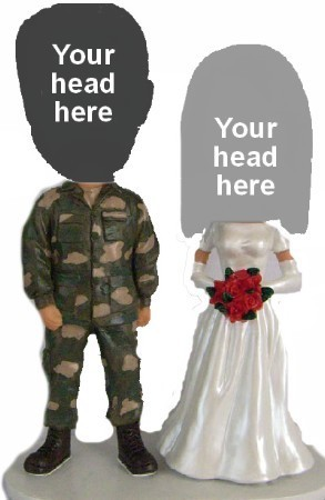 Custom Bobblehead | Military Man With Bride Couple Bobblehead