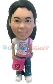 Girl With Pink Purse bobblehead Doll