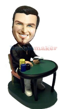 Poker Player Male bobblehead Doll