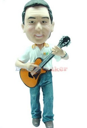 Acoustic Guitar Player Male bobblehead Doll