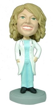 Female Doctor With Lab Coat bobblehead Doll