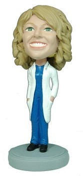 Female Doctor With Hands In Lab Coat bobblehead Doll