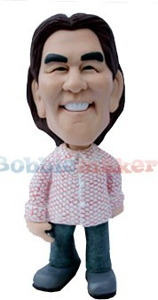 Button Up Shirt And Jeans bobblehead Doll