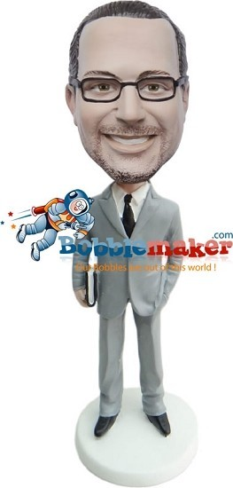 Custom Bobble Head | Businessman With Portfolio Bobblehead | Gift For Men
