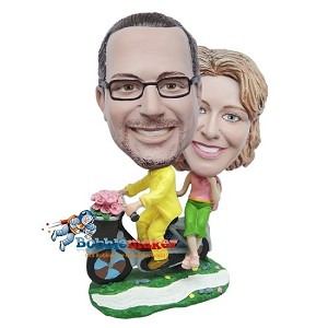Custom Bobble Head | Couple Riding Scooter With Roses Bobblehead | Gifts for Couples