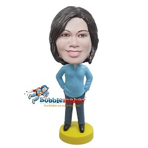 Hands In Pockets Casual Female bobblehead Doll