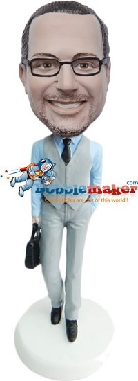 Custom Bobble Head | Businessman Carries Briefcase Bobblehead | Gift For Men