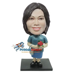 Custom Bobble Head | Woman With Pocketbook And Roses Bobblehead | Gift Ideas For Women