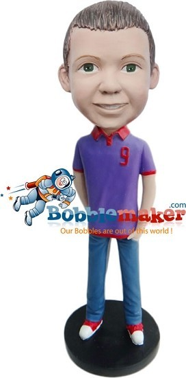 Casual Boy In Polo bobblehead Doll