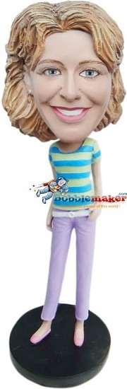 Casual Pastel Female bobblehead Doll