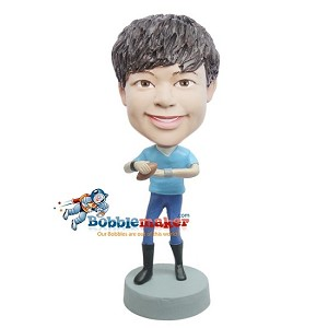 Boy With Football bobblehead Doll