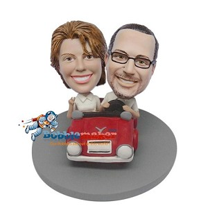 Custom Bobble Head | Man And Woman Driving Car Bobblehead | Gifts for Couples