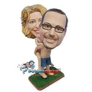 Man Giving Piggy Back Ride Couple bobblehead Doll