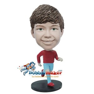 Running Boy bobblehead Doll