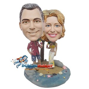 Custom Bobble Head | Man And Woman On Desert Island Bobblehead | Gifts for Couples