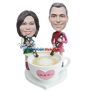 Custom Bobble Head | Couple Stirring Love Mug Bobblehead | Gifts for Couples