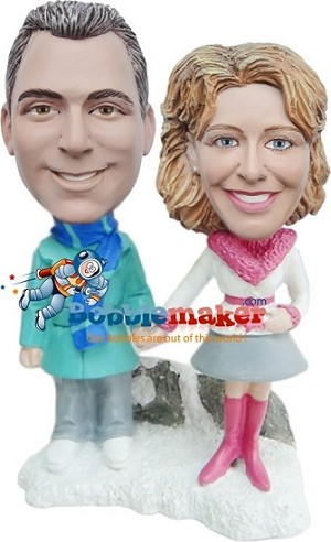 Winter Couple bobblehead Doll