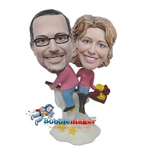 Custom Bobble Head | Man And Woman Ride Broom Bobblehead | Gifts for Couples