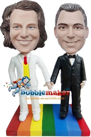 Same Sex Wedding Couple bobblehead Doll