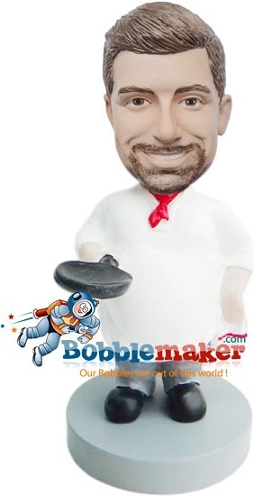 Custom Bobble Head | Chef With Pan Male Bobblehead | Gift Ideas For Men
