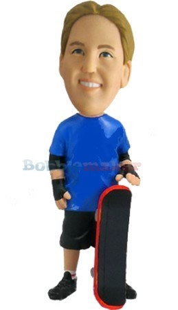Custom Bobble Head | Skateboarder With Skateboard Bobblehead | Gift Ideas For Men