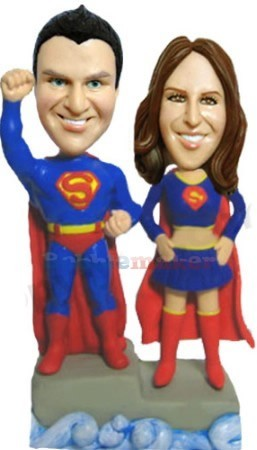 Superwoman and Superman bobblehead Doll