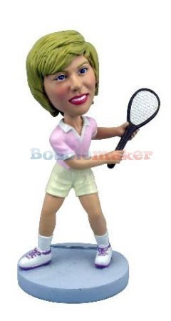 Female Tennis Player With Racket bobblehead
