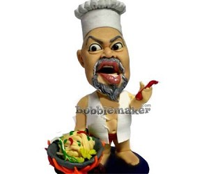 Wok Cooking Chef Male bobblehead Doll