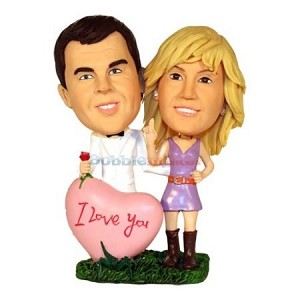 Custom Bobble Head | Couple Behind Heart Bobblehead | Gift Ideas For Couples