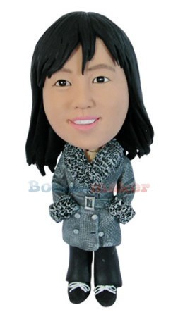 Woman In Winter Coat bobblehead Doll