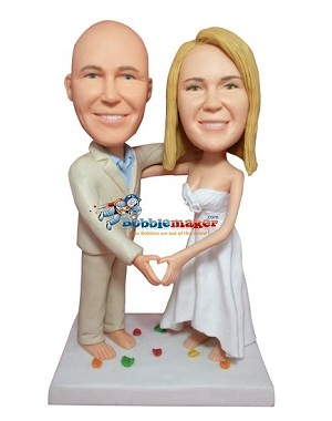 Custom Bobble Head | Couple Making Heart Gesture Bobblehead | Gifts for Couples