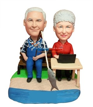 Man Fishes Wife Computes bobblehead Doll