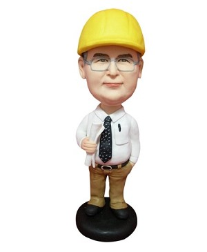 Contractor Man With Blueprints bobblehead Doll