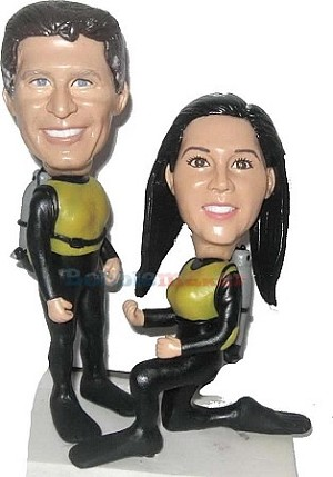 Scuba Diving Couple bobblehead Doll