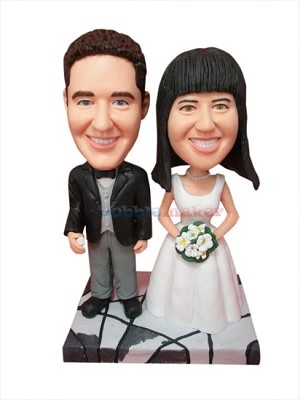 The Dignified Bride and Groom Cake Topper bobblehead Doll