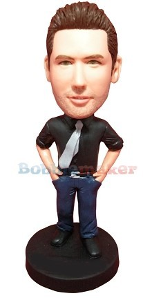 Tie And Jeans Man bobblehead Doll